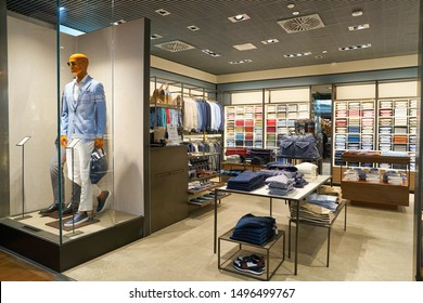VENICE, ITALY - CIRCA MAY, 2019: interior shot of Boggi shop in Venice Marco Polo Airport.