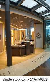 VENICE, ITALY - CIRCA MAY, 2019: Bvlgari shop in Venice Marco Polo Airport.