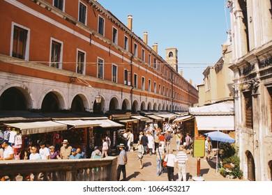 VENICE, ITALY - CIRCA SEPTEMBER 2009: Rialto Market in Venice