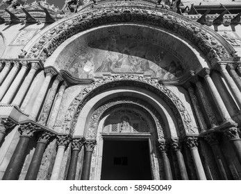 VENICE, ITALY - CIRCA SEPTEMBER 2016: Piazza San Marco (meaning St Mark square) in black and white