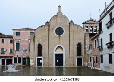 VENICE, ITALY - DECEMBER 13, 2018: Church of San Giovanni in Bragora, where Venetian composer Antonio Vivaldi was baptised. It is located in the sestiere of Castello.