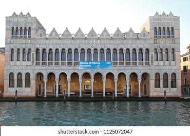 VENICE, ITALY - DECEMBER 19, 2012: Museum of Natural History Building at Grand Canal in Venice, Italy.