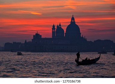 VENICE, ITALY - DECEMBER 29: View of the Bacino San Marco during the sunset on December 29, 2018