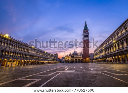 Venice Italy Europe - August 8 2015 - Piazza San Marco often known in English as St Mark's Square, is the principal public square of Venice, Italy, where it is generally known just as la Piazza.