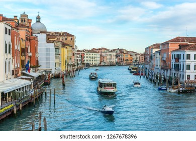 Venice, Italy, Europe - December 16, 2017:Canal Grande or Grand Canal, the major water-traffic corridors in the city of Venice.