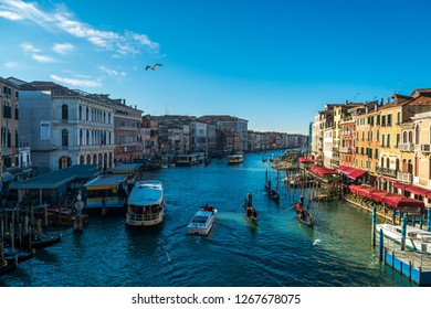 Venice, Italy, Europe - December 17, 2017:Canal Grande or Grand Canal, the major water-traffic corridors in the city of Venice.
