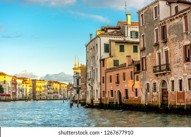 Venice, Italy, Europe - December 18, 2017:Canal Grande or Grand Canal, the major water-traffic corridors in the city of Venice.