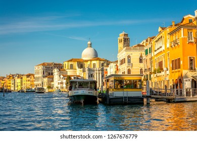 Venice, Italy, Europe - December 19, 2017:Canal Grande or Grand Canal, the major water-traffic corridors in the city of Venice.
