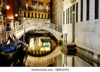 Venice, Italy, Europe - scenic view of venetian canal at night