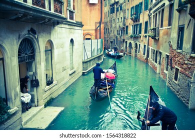 Venice/ Italy-  February 03 2014: Flood in Venice, Veneto region, is built on more than 100 small islands in a lagoon in the Adriatic Sea. It has no roads, just canals – including the Grand Canal