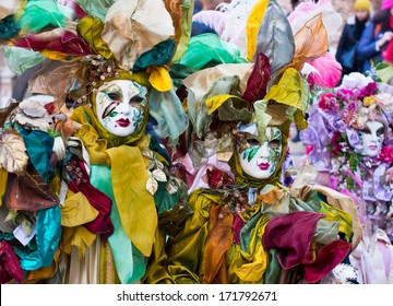 VENICE, ITALY - FEBRUARY 04, 2013 : Unidentified persons with Venetian Carnival mask in Venice, Italy on February 04, 2013.   In 2013 the Carnival was held between 01 and 12 of February.