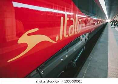VENICE, ITALY - FEBRUARY 07, 2019: High-speed train Italo at the railway station in Venezia Santa Lucia Train Station