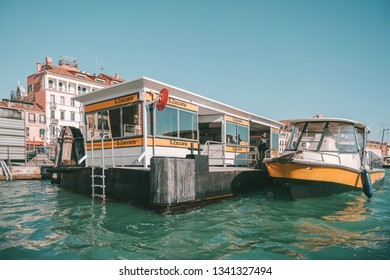 VENICE, ITALY - FEBRUARY 08, 2019: Public transport in Venice. Vaporetto is another name for a water taxi or water bus, operated by ACTV, the public transport authority for Venice