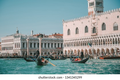 VENICE, ITALY - FEBRUARY 08, 2019: The Doge's Palace is a palace built in Venetian Gothic style, and one of the main landmarks of the city of Venice in northern Italy