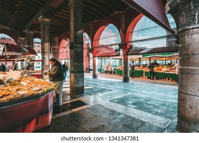 VENICE, ITALY - FEBRUARY 08, 2019: Fresh fish for sale at the fish market