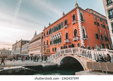 VENICE, ITALY - FEBRUARY 08, 2019: Hotel Danieli, formerly Palazzo Dandolo, is a five-star palatial hotel in Venice, Italy