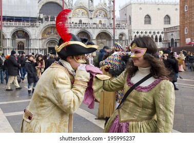 VENICE, ITALY, FEBRUARY 12, 2012: Carnival of Venice, beautiful masks at St. Mark's Square