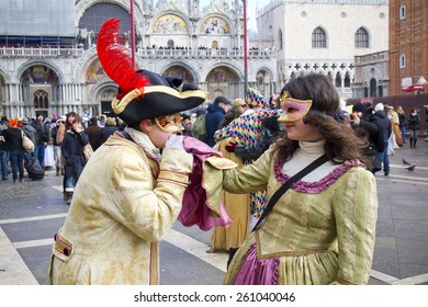 VENICE, ITALY, February 12, 2012: Carnival of Venice beautiful masks at St. Mark's Square