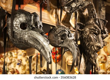 VENICE, ITALY - FEBRUARY 13, 2015: Unique masks on display at Caâ??Macana shop (one of the oldest mask making workshops). The Carnival in Venice is annual event which ends on Shrove Tuesday.