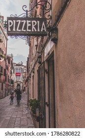 Venice / Italy -  February 15, 2020: Pizzeria, italian restaurant sign in Venice