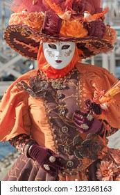 VENICE, ITALY - FEBRUARY, 17: Person in costume at St. Mark's Square during the 2012 Carnival of Venice celebrations, on February 17, 2012.