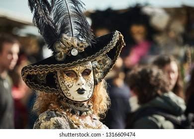Venice, Italy. February 17th, 2019 Venice Carnival 2019 parade of traditional masks. .