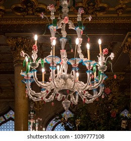 Venice Italy, February 2018. Chandelier made of Venetian glass hanging in the entrance hall at the Danieli Hotel, Venice.
