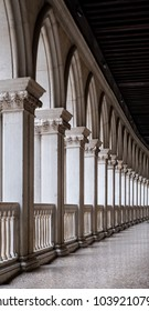 Venice, Italy. February 2018. Close up of the arches in the interior courtyard at the Doges Palace (Palazzo Ducale), Venice.