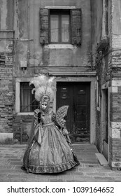 Venice Italy, February 2018. Woman holding fan and wearing feathered mask and ornate costume standingin an a courtyard during Venice Carnival / Carnivale di Venezia. Photographed in monochrome.