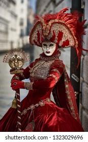 Venice, Italy. February 20th, 2019 Venice Carnival 2019 parade of traditional masks