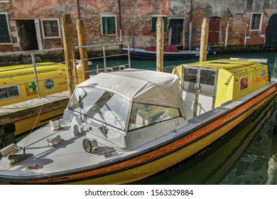 Venice, Italy - February 22 2019: Venetian water ambulance moored on the canals. Venezia Emergenza medical boats ready to be used in case of an emergency.