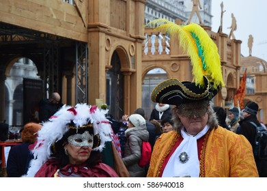 VENICE, ITALY - FEBRUARY 23, 2017: Unidentified people in Venetian masks participate in the Carnival of Venice on February 23, 2017 in Venice, Italy