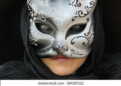VENICE, ITALY - FEBRUARY 24, 2009: Venetian carnival mask in Venice during Mardi Gras, Italy, from February 13th to February 24th 2009