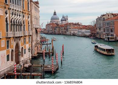 Venice, Italy, February 24, 2019: View of the Grand Canal and Basilica Santa Maria Della Salute,