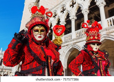 Venice, Italy - February 25, 2017: unidentified disguised women at the Carnival of Venice. The Carnival of Venice is an annual festival, world famous for its elaborate masks.