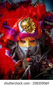 VENICE, ITALY - FEBRUARY 3, 2008: Unidentified person with Venetian carnival mask in Venice, Italy. At 2008 it is held from January 26th to February 5th.
