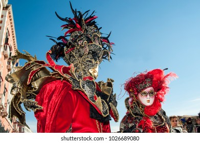 Venice, Italy - February 6 2018 - The Masks of carnival 2018. The Carnival of Venice is an annual festival held in Venice, Italy. The festival is world-famous for its elaborate masks.