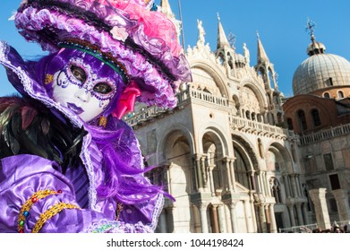 Venice, Italy - February 6 2018 - The Masks of carnival 2018. The Carnival of Venice (Italian: Carnevale di Venezia) is an annual festival held in Venice, Italy.