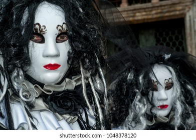 Venice, Italy - February 7 2018 - The Masks of carnival 2018. The Carnival of Venice (Italian: Carnevale di Venezia) is an annual festival held in Venice, Italy.