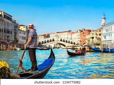Venice, Italy. Gondolier dressed in traditional blue striped top and straw hat with red ribbon, with rowing oar in his gondola on Grand Canal look at Rialto Bridge against other gondolas in sunny day