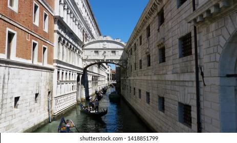 Venice Italy, Gondolier Rides Gondola.