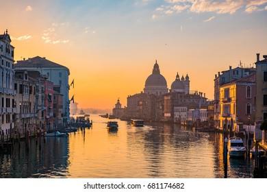 Venice italy , Grand Canal with Basilica di Santa Maria della Salute in Sunrise time