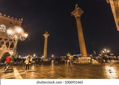 VENICE, ITALY - JANUARY 02 2018: night view of the  Palazzo Ducale and San Marco and San Todaro columns in San Marco Square