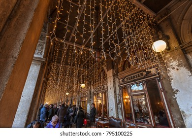VENICE, ITALY - JANUARY 02 2018: christmas lights over Florian coffe shop. The Florian is a historic cafe in San Marco square.