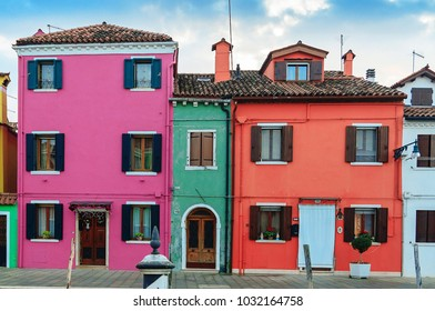 VENICE, ITALY - JANUARY 06, 2018: View on the colorful houses in Burano island, during winter days, Venice, Italy