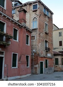 Venice, Italy - January 19, 2018: Old Dilapidated buildings on Corte de l Anatomia O Fiorenzuola