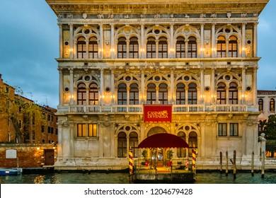 VENICE, ITALY, JANUARY - 2018 - Afternoon scene exterior facade casino palace at grand canal in venice city, Italy