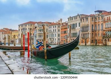 VENICE, ITALY, JANUARY - 2018 - Winter urban scene at grand canal of venice city.