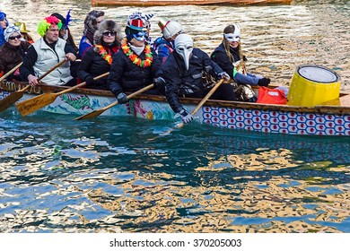 VENICE, ITALY - JANUARY 24, 2016: Carnival procession on the Cannaregio Canal on January 24, 2016 in Venice Italy