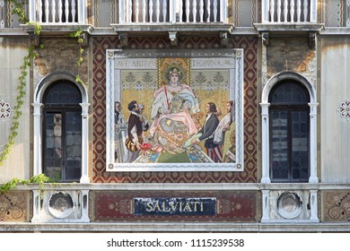 VENICE, ITALY - JULY 08, 2013: Murano Glass Mosaic at Family House Salviati Palace at Grand Canal in Venice, Italy.